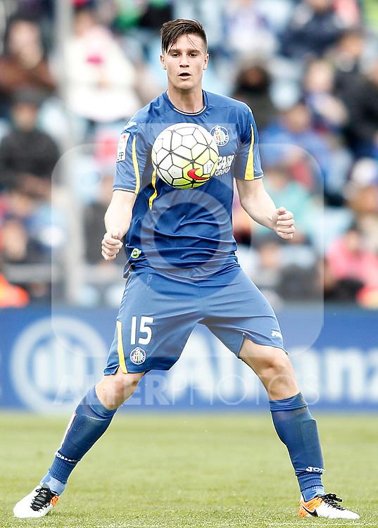 Getafe's Carlos Vigaray during La Liga match. April 16,2016. (ALTERPHOTOS/Acero)