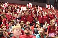 NWA Democrat-Gazette/DAVID GOTTSCHALK Students hold up signs from Friday, November 8, 2019 before the University of Arkansas Razorback and University of New Orleans women's basketball game at Bud Walton Arena on the campus in Fayettville. Students from Northwest Arkansas elementary schools attended the annual Elementary School Day basketball game on the campus.