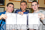 Pictured with their leaving Cert results in St Brendans College, Killarney on Wednesday were Shane O'Neill, Jesse Doherty and Kevin McCarthy.   Copyright Kerry's Eye 2008