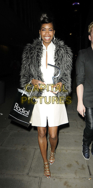 Tolula Adeyemi.Rodial Beautiful Awards, Sanderson Hotel, London, England..March 6th, 2012.full length white grey gray dress fur coat goody bag.CAP/CAN.©Can Nguyen/Capital Pictures.