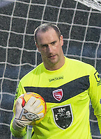 Goalkeeper Barry Roche of Morecambe makes his 300th Morecambe appearance during the Sky Bet League 2 match between Wycombe Wanderers and Morecambe at Adams Park, High Wycombe, England on 2 January 2016. Photo by Andy Rowland / PRiME Media Images
