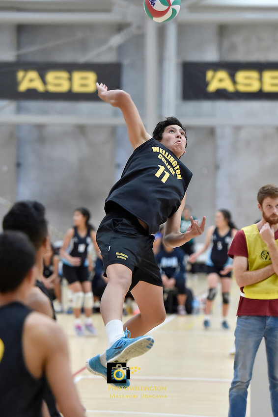 Action from the Volleyball NZ North Island Junior Championships at ASB Sports Centre, Kilbirnie, Wellington, New Zealand on Tuesday 25 November 2014.<br />