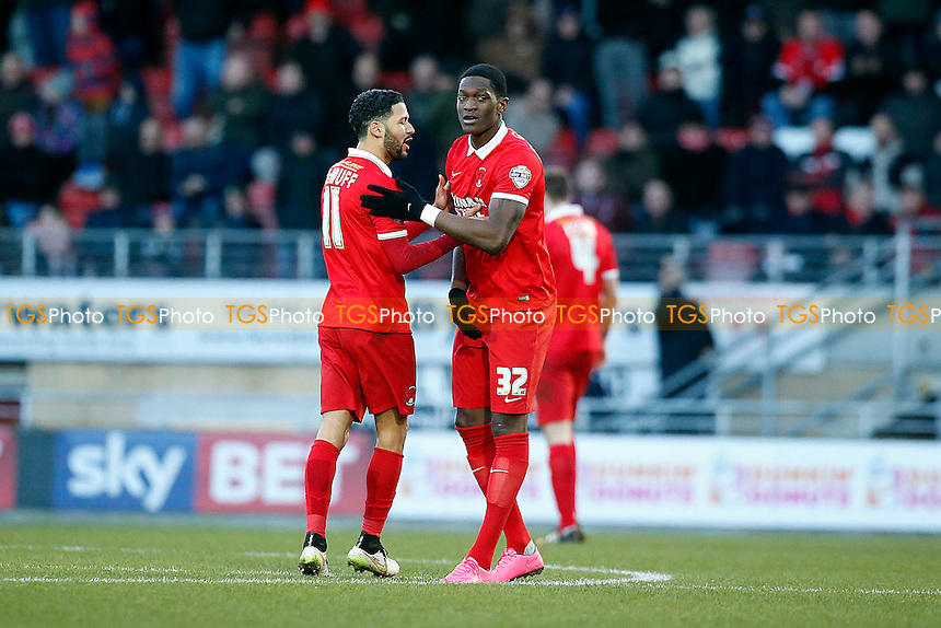 O's Arman Gnanduillet celebrates with Jobi McAnuff during Leyton Orient vs Cambridge United, Sky Bet League 2 Football at the Matchroom Stadium, London, England on 30/01/2016
