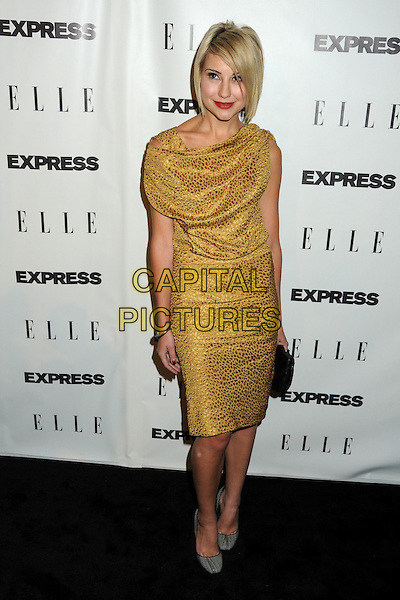 """CHELSEA STAUB.ELLE and Express """"25 at 25"""" Event held at Palihouse, West Hollywood, California, USA..October 7th, 2010.full length yellow print gold dress grey gray shoes black clutch bag sleeveless .CAP/ADM/BP.©Byron Purvis/AdMedia/Capital Pictures."""