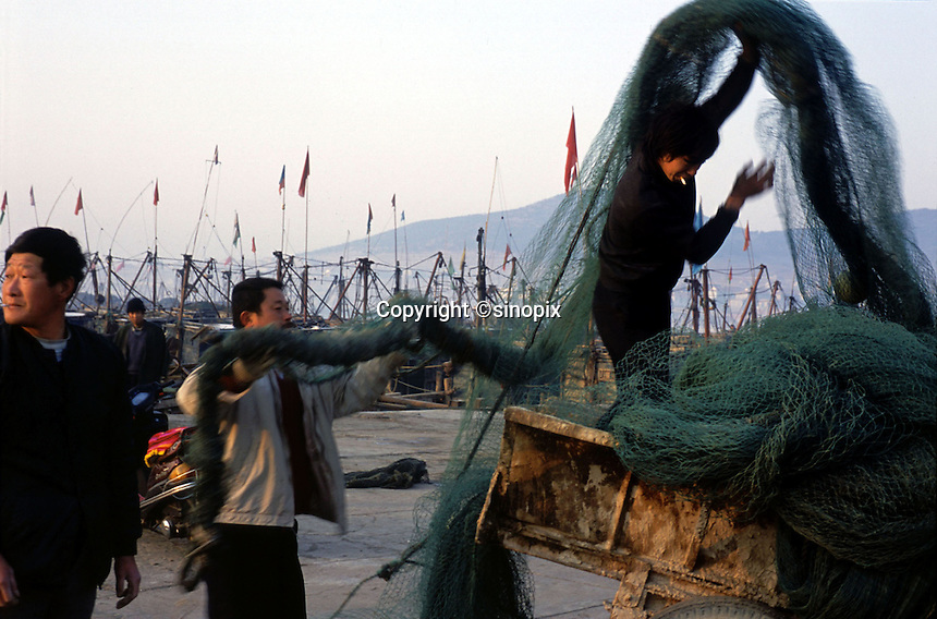 Nets are moved off fishing boats in harbour  at Chuwang fishing village village 250 km from Beijing. The Chinese fishing industry is in decline.