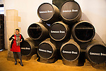Female guide explaining fino sherry production wine cellar, Gonzalez Byass bodega, Jerez de la Frontera, Cadiz province, Spain