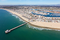 Newport Beach Pier Aerial Stock Photo