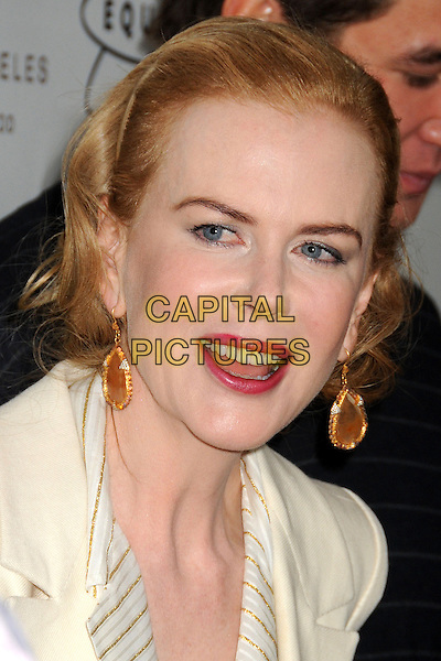 "Nicole Kidman.""Gold Meets Golden"" Pre Golden Globes Event held at Equinox West LA, Los Angeles, California, USA, .12th January 2013..portrait headshot hairband pink lipstick make-up earrings striped shirt  gold hair band beauty white cream jacket mouth open .CAP/ADM/BP.©Byron Purvis/AdMedia/Capital Pictures."