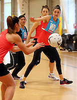 24.08.2016 Silver Ferns Anna Scarlett in action during the Silver Ferns Training in Auckland. Mandatory Photo Credit ©Michael Bradley.