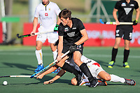 Marcus Child attacks the goal. Pro League Hockey, Vantage Blacksticks v Belgium. Harbour Hockey Stadium, Auckland, New Zealand. Friday 1st February 2019. Photo: Simon Watts/Hockey NZ