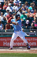 Jorge Alfaro (24) of the Lehigh Valley Iron Pigs at bat against the Durham Bulls at Coca-Cola Park on July 30, 2017 in Allentown, Pennsylvania.  The Bulls defeated the IronPigs 8-2.  (Brian Westerholt/Four Seam Images)