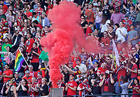 Portland, OR - Saturday May 27, 2017: Thorns Supporters celebrate a goal during a regular season National Women's Soccer League (NWSL) match between the Portland Thorns FC and the Boston Breakers at Providence Park.