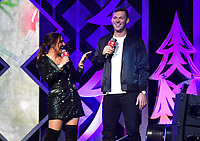 PHILADELPHIA, PA - DECEMBER 05: Rachel Marie, Rhys Hoskins speak  onstage during Q102's Jingle Ball 2018 at Wells Fargo Center on December 5, 2018 in Philadelphia, Pennsylvania. Photo: imageSPACE/MediaPunch
