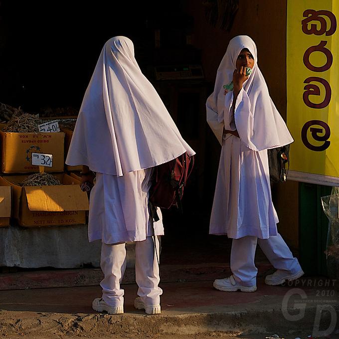 Muslim school girls  and Street scene village near Kandy