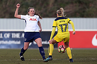 Ryah Vyse of Tottenham Ladies and Ella Franklin-Fraiture of Oxford United Ladies during Tottenham Hotspur Ladies vs Oxford United Women, FA Women's Super League FA WSL2 Football at Theobalds Lane on 11th February 2018