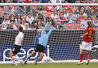 22 MAY 2010:  USA's Hope Solo #1 during the International Friendly soccer match between Germany WNT vs USA WNT at Cleveland Browns Stadium in Cleveland, Ohio. USA defeated Germany 4-0 on May 22, 2010.