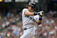 July 23, 2008: Seattle Mariners' Kenji Johjima at-bat during a game against the Boston Red Sox at Safeco Field in Seattle, Washington.