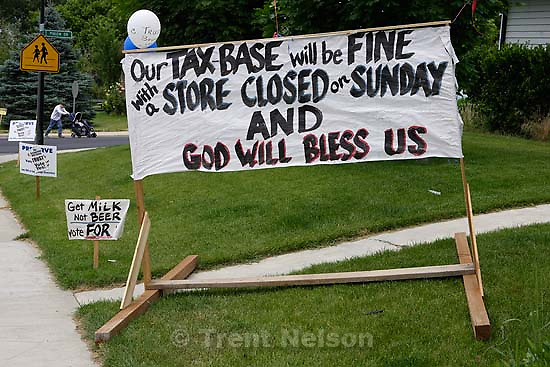 signs. Cedar Hills residents vote today on special ballot initiatives to ban beer and Sunday shopping. 6.28.2005<br />