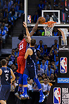 Joel Embiid of 76ers (L) in action against Luka Dončić of Dallas Mavericks (R) during the NBA China Games 2018 match between Dallas Mavericks and Philadelphia 76ers at Universiade Center on October 08 2018 in Shenzhen, China. Photo by Marcio Rodrigo Machado / Power Sport Images