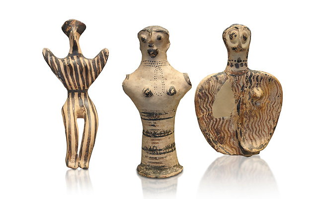 Mycenaean female figurines  from Mycenae tombs, Archaeological Museum Athens.  White Background.<br /> <br /> Left: Seated Mycenaean female figurine with raies arms, from Mycenae tomb 91,  Cat No 3193. <br /> <br /> Middle: Hollow Mycenaean female figurine, adorant, wearing a necklace, from Mycenae tomb 40,  Cat No 2494. <br /> <br /> Right: Upper part of a Mycenaean female figurine with stylised arms wearing a necklace, from Mycenae tomb 101,  Cat No 4690