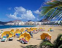 Spanien, Kanarische Inseln, Gran Canaria, Las Palmas: Playa de las Canteras, Strand | Spain, Canary Island, Gran Canaria, Las Palmas: Playa de las Canteras, beach