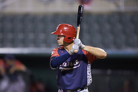 Drew Mendoza (22) of the Hagerstown Suns at bat against the Kannapolis Intimidators at Kannapolis Intimidators Stadium on August 27, 2019 in Kannapolis, North Carolina. The Intimidators defeated the Suns 5-4. (Brian Westerholt/Four Seam Images)