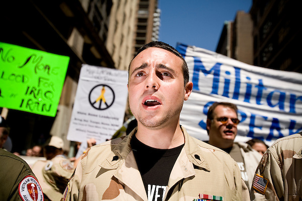 On April 29th, 2006 thousands of anti-war protesters rallied at Union Square in Manhattan and marched down Broadway to show their anger at the Bush administration for the continuing war in Iraq.. Michael Blake, US Army and member of Iraq Veterans Against eh War.