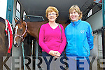 Asdee Horse Racing, Sunday 06-10-2013.  Pictured left to right: Aileen Daly of Newmarket and Mary McGillicuddy of Glenbeigh pictured with horse Red Handed.