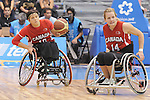 November 18 2011 - Guadalajara, Mexico:   Katie Harnock of Team Canada looks to makes a pass besaide Jessica Vliegenthart while taking on Team USA in the Gold Medal Game in the CODE Alcalde Sports Complex at the 2011 Parapan American Games in Guadalajara, Mexico.  Photos: Matthew Murnaghan/Canadian Paralympic Committee