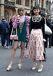 Street Style from the Gucci Cruise 2017 Fashion Show, held at the Cloisters of London Westminster Abbey on June 2nd, 2016, Image shows Japanese fashion models Rola (left) and Rila Fukushima (right). (Photo by Pat Lyttle/AFLO)