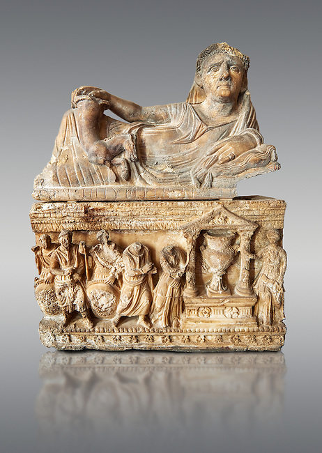 Etruscan Hellenistic style cinerary, funreary, urn , inv no 5774,  National Archaeological Museum Florence, Italy , against grey