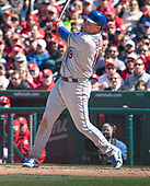 New York Mets right fielder Jay Bruce (19) connects for a seventh inning grand slam home run against the Washington Nationals at Nationals Park in Washington, D.C. on Thursday, April 5, 2018.  The blast gave the Mets an 8-2 lead.<br /> Credit: Ron Sachs / CNP<br /> (RESTRICTION: NO New York or New Jersey Newspapers or newspapers within a 75 mile radius of New York City)