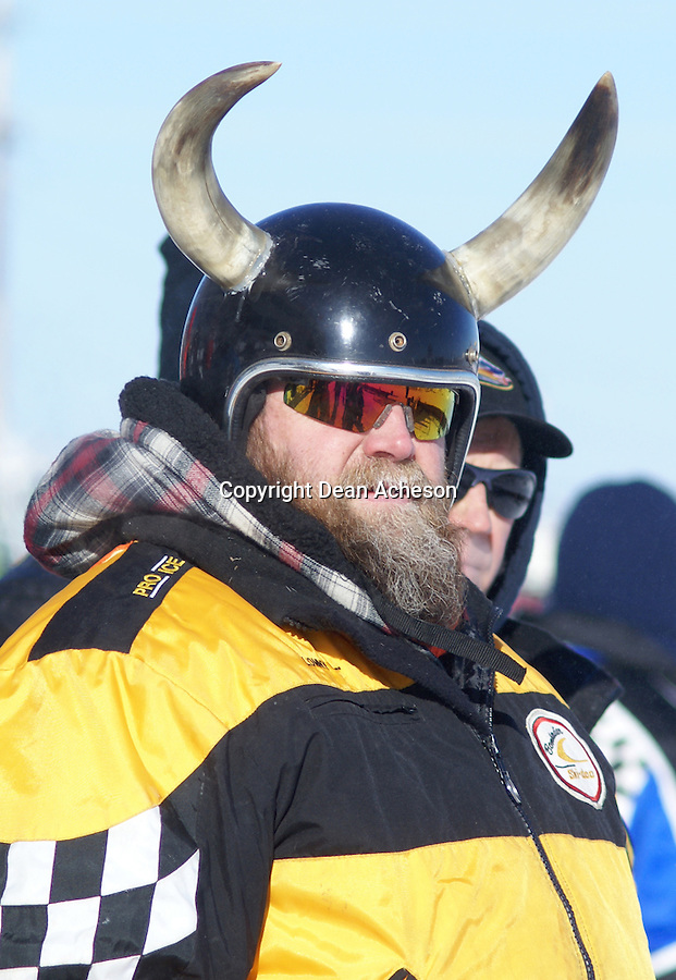 Fans at the 2008 Eagle River World Championship Snowmobile Derby show up in unusual headgear. This fan was watching the championship races on Sunday, Jan. 20 at the Eagle River, Wis. track.