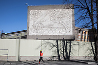 "In the late 1950s and the early 1970s the Spanish artist Pablo Picasso designed five murals (The Beach, The Seagull, Satyr and Faun and two versions of The Fisherman) for the Regjeringskvartalet ('Government quarter') buildings in central Oslo, Norway.<br /> <br /> The designs by Picasso were executed in concrete by Norwegian artist Carl Nesjar, and were Picasso's first attempt at monumental concrete murals<br /> <br /> The modernist building, the Y-block, which formed part of the Norwegian government quarter for over fifty years.  <br /> <br /> The building was drawn by architect Erling Viksjø  and was finished 1969. Following the 2011 terror attack the building was left empty while the government have been mulling its' options. <br /> <br /> A decision on the fate of the murals was expected in early 2014. The murals were subsequently listed as one of Europe's most endangered heritage sites in 2015 by the heritage organisation Europa Nostra following the Norwegian cabinet's vote to demolish the Y-block building.<br /> <br /> In the beginning of 2020 the Norwegian government decided to tear down the building and redevelop the goverment quarter. <br /> <br /> The Architect's Newspaper writes: <br /> ""Demolition-ready government officials have vowed to save and relocate the murals, which were executed by Picasso's frequent collaborator, the Norwegian artist Carl Nesjar. Preservationists near and far, however, are crying foul. They believe that the building itself should also be spared from the wrecking ball.""<br /> <br /> <br /> <br /> <br /> ©Fredrik Naumann/Felix Features"