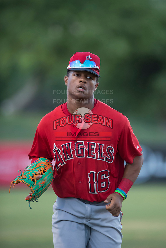 AZL Angels left fielder Datren Bray (16) jogs off the field between innings of an Arizona League game against the AZL Indians 2 at Tempe Diablo Stadium on June 30, 2018 in Tempe, Arizona. The AZL Indians 2 defeated the AZL Angels by a score of 13-8. (Zachary Lucy/Four Seam Images)