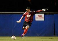 Florida International University men's soccer player Eric Reyes (1)  plays against Nova University on August 26, 2011 at Miami, Florida. FIU won the game 2-0. .