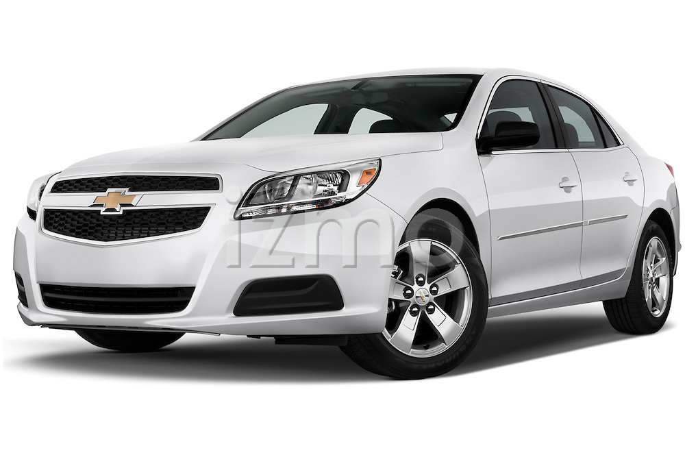 Low aggressive front three quarter view of a .2013 Chevrolet Malibu 1LS Sedan
