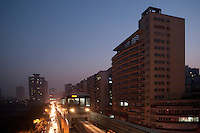 Evening Landscape View Of A Chongqing Rail Transit Car in Chongqing, China.  © LAN
