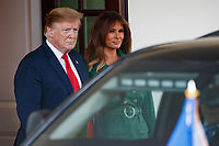 United States President Donald J. Trump waves at members of the media while participating in the departure of Czech Republic Prime Minister Andrej Babiˆ and Mrs. Monika Babiˆov∑ on the South Portico at White House in Washington, District of Columbia on Thursday, March 7, 2019. Photo Credit: Ting Shen/CNP/AdMedia
