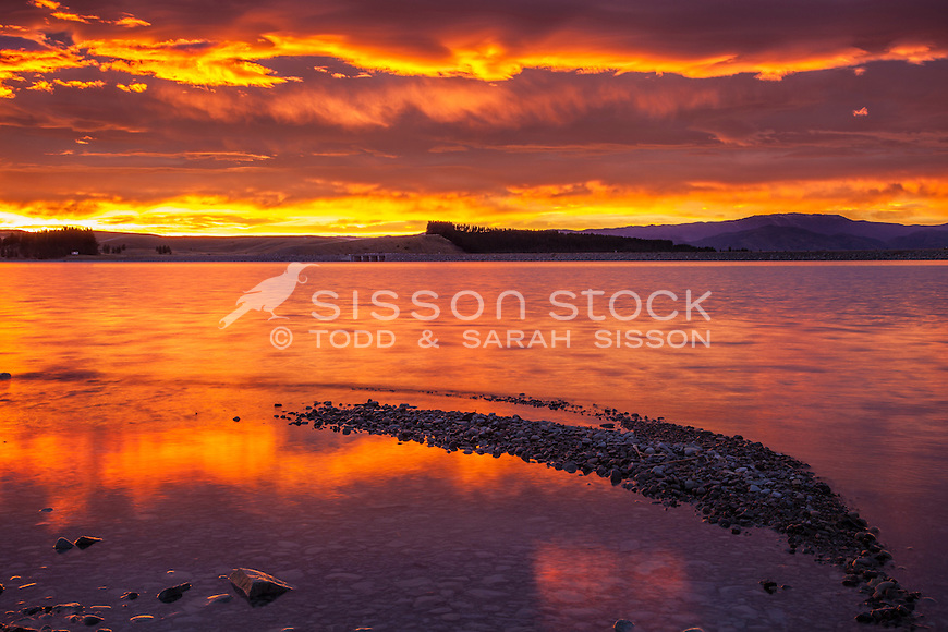 Intense & vivid sunrise image, Lake Pukaki, from near highway to Twizel & Tekapo