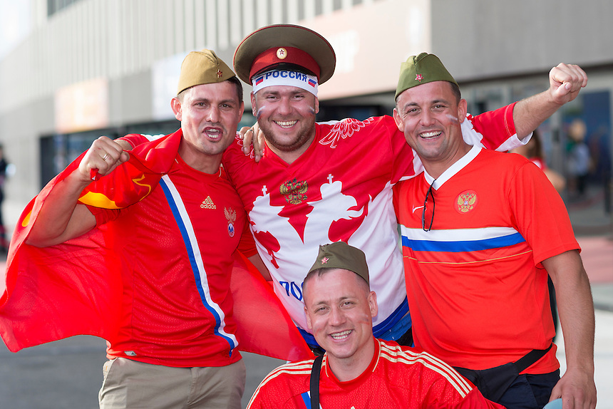Russian fans enjoy the pre-match build up at the Stade Velodrome<br /> <br /> Photographer Craig Mercer/CameraSport<br /> <br /> International Football - 2016 UEFA European Championship - Group B - England v Russia - Saturday 11th June 2016 - Stade Velodrome, Marseille - France <br /> <br /> World Copyright &copy; 2016 CameraSport. All rights reserved. 43 Linden Ave. Countesthorpe. Leicester. England. LE8 5PG - Tel: +44 (0) 116 277 4147 - admin@camerasport.com - www.camerasport.com