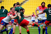Piri Weepu clears during the Heartland Championship rugby match between Horowhenua Kapiti and Wairarapa Bush at Westpac Stadium in Wellington, New Zealand on Sunday, 1 October 2017. Photo: Dave Lintott / lintottphoto.co.nz