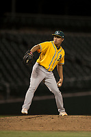 AZL Athletics relief pitcher Jorge Martinez (51) delivers a pitch during an Arizona League game against the AZL Cubs 1 at Sloan Park on June 28, 2018 in Mesa, Arizona. The AZL Athletics defeated the AZL Cubs 1 5-4. (Zachary Lucy/Four Seam Images)