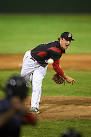 Batavia Muckdogs relief pitcher Ryley MacEachern (40) delivers a pitch during a game against the State College Spikes on June 23, 2016 at Dwyer Stadium in Batavia, New York.  State College defeated Batavia 8-4.  (Mike Janes/Four Seam Images)