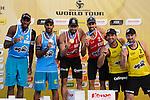 31.05.2015, Moskau, Vodny Stadion<br /> Moskau Grand Slam, Siegerehrung<br /> <br /> 2. Platz / Silber / Silbermedaille: Evandro Goncalves / Pedro Solberg Salgado (BRA), 1. Platz / Gold / Goldmedaille: Pablo Herrera / Adrian Gavira (ESP), 3. Platz / Bronze / Bronzemedaille, Jonathan Erdmann / Kay Matysik (GER)<br /> <br />   Foto © nordphoto / Kurth