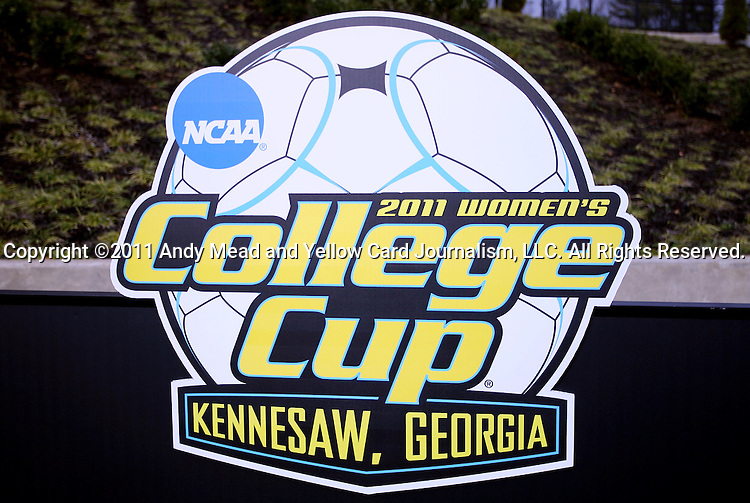 04 December 2011: Women's College Cup logo on a signboard at the northwest corner of the field. The Stanford University Cardinal played the Duke University Blue Devils at KSU Soccer Stadium in Kennesaw, Georgia in the NCAA Division I Women's Soccer College Cup Final.