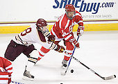 Pat Morris (BC - 8), Louis Mareschi (BU - 12) - The Boston College Eagles defeated the visiting Boston University Terriers 6-2 in ACHA play on Sunday, December 4, 2011, at Kelley Rink in Conte Forum in Chestnut Hill, Massachusetts.