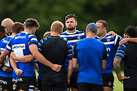 Elliott Stooke of Bath Rugby looks on in a huddle. Bath Rugby pre-season training on August 8, 2018 at Farleigh House in Bath, England. Photo by: Patrick Khachfe / Onside Images