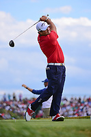 Patrick Reed (USA) watches his tee shot on 7 during Sunday's round 4 of the 117th U.S. Open, at Erin Hills, Erin, Wisconsin. 6/18/2017.<br /> Picture: Golffile | Ken Murray<br /> <br /> <br /> All photo usage must carry mandatory copyright credit (&copy; Golffile | Ken Murray)