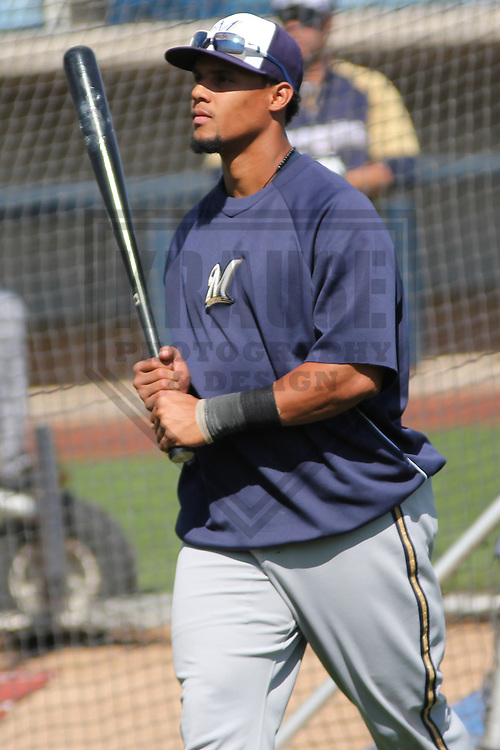 MARYVALE - March 2013: Carlos Gomez (27)  of the Milwaukee Brewers during a Spring Training practice on March 17, 2013 at Maryvale Baseball Park in Maryvale, Arizona. (Photo by Brad Krause). .